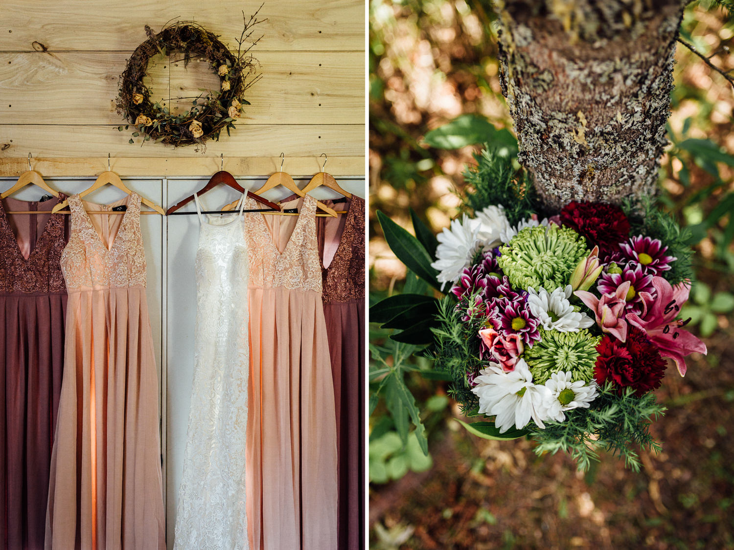 Hanging bridesmaid dresses and bridal bouquet