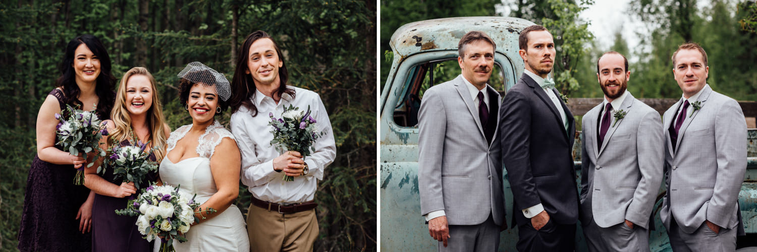 Wedding party portraits at Gloryview Farm in Wasilla