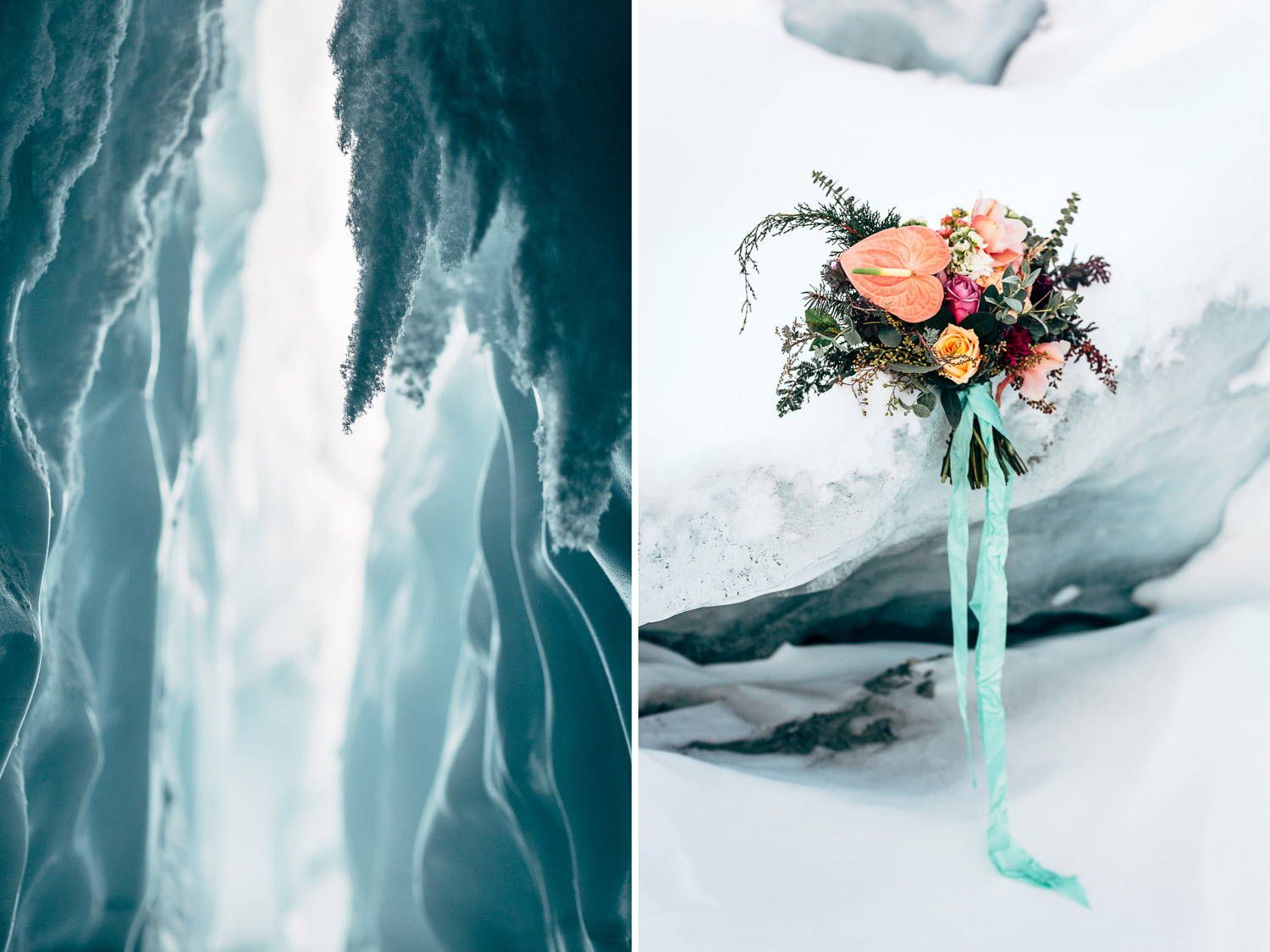 Ice cave and bouquet