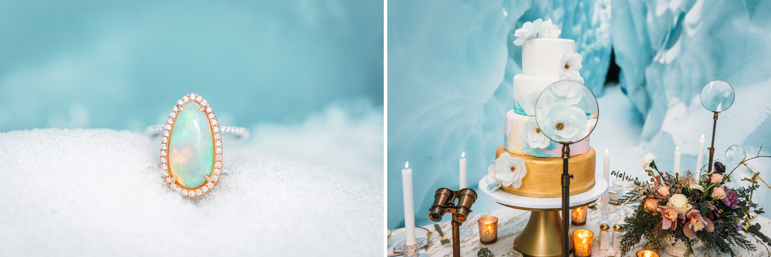 Opal ring in snow and ice cave tablescape