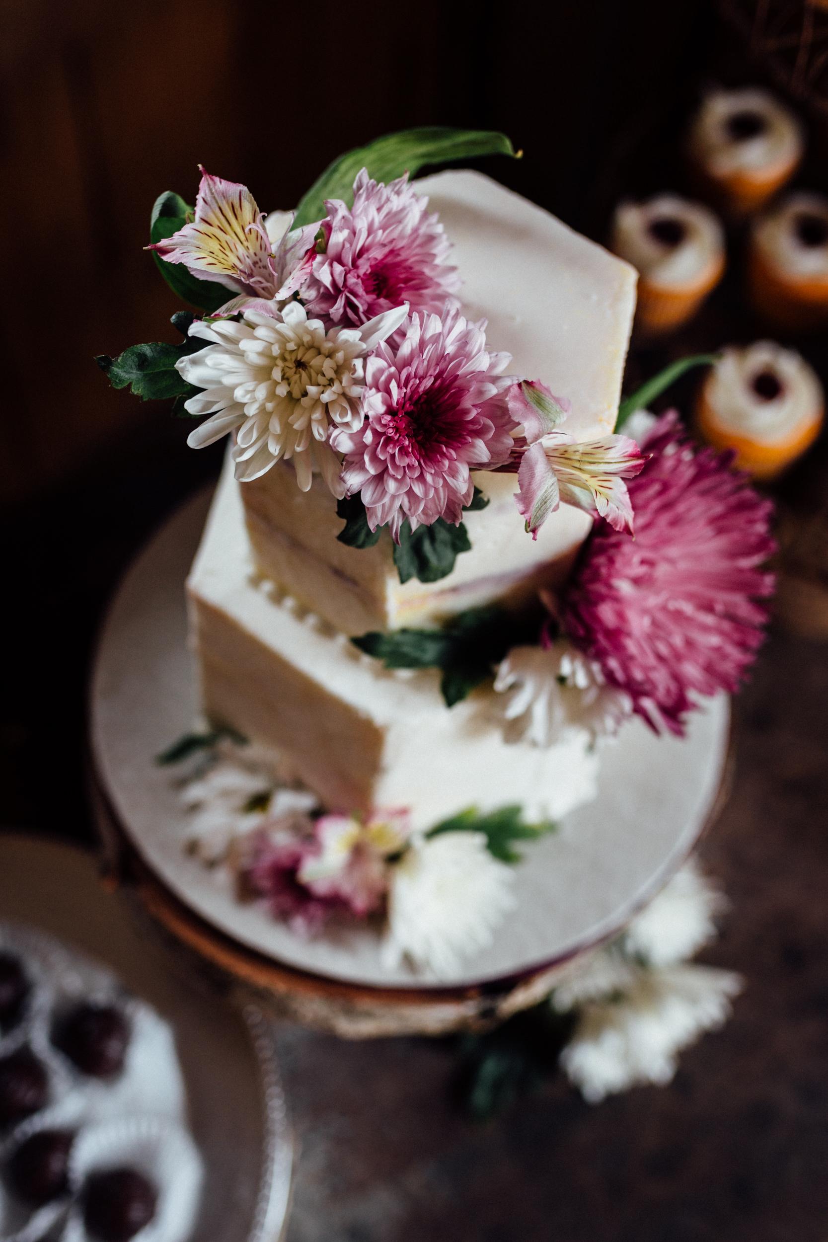 Midnight Sun Cakery wedding cake with flowers