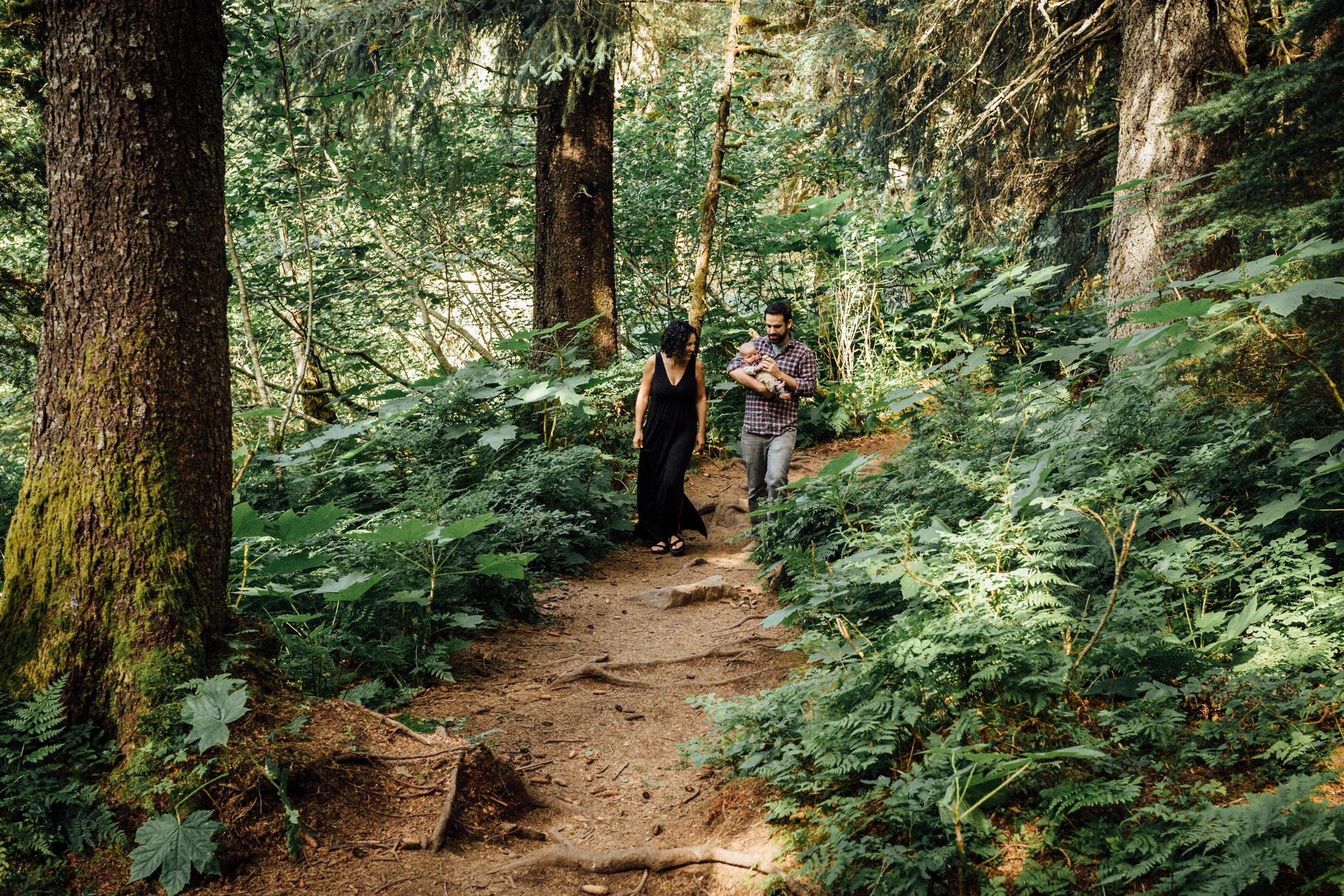 Family hike at Virgin Creek Falls in Alaska