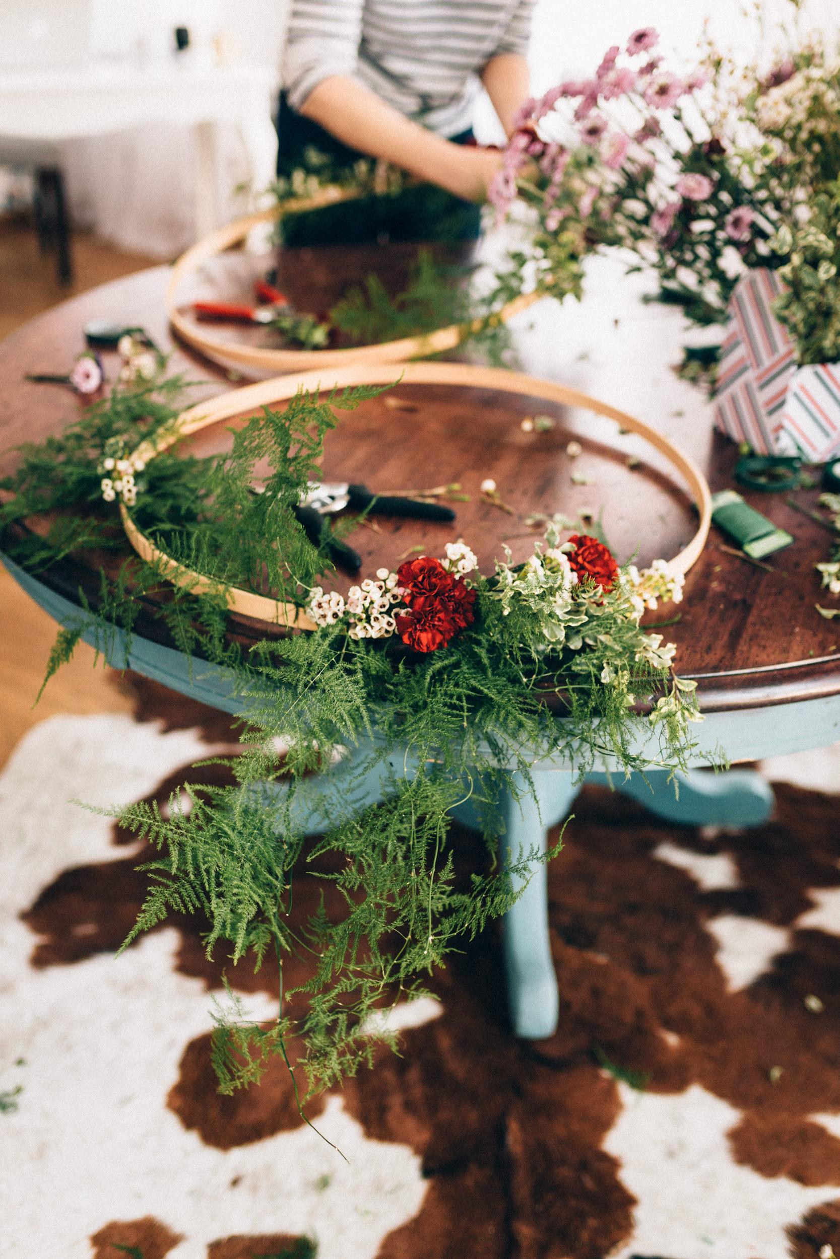 Hoop wreath on table