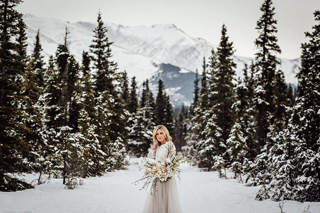 I'm ready for snow (and lots of it) anytime now. ❄️ Bouquet: @erinvelander  Model, HMU: @crysak907  Gown & topper: @willowbywatters @missstellayork c/o @bateaubridalboutique