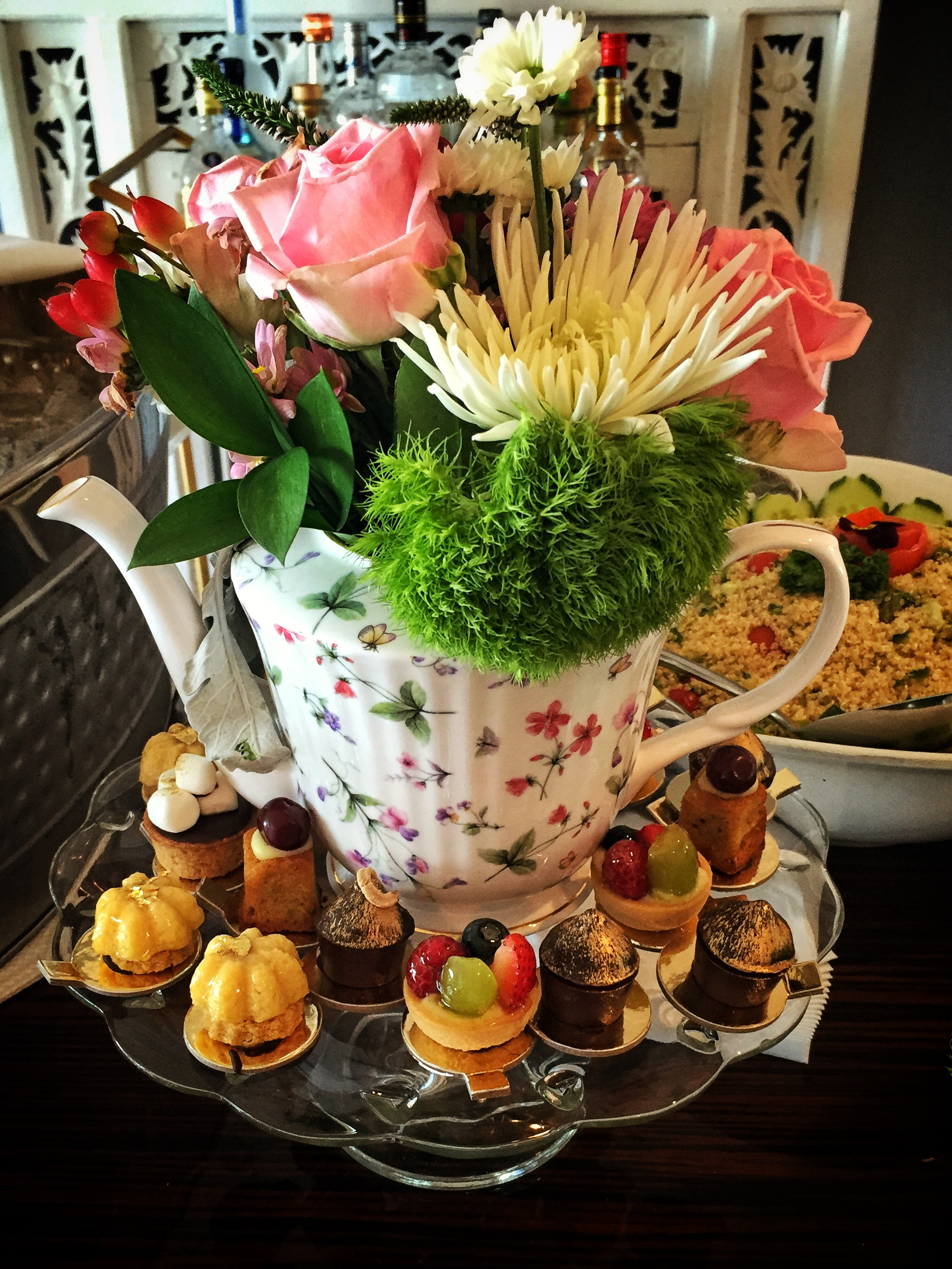 A decadent birthday spread for an afternoon tea with 20 guests