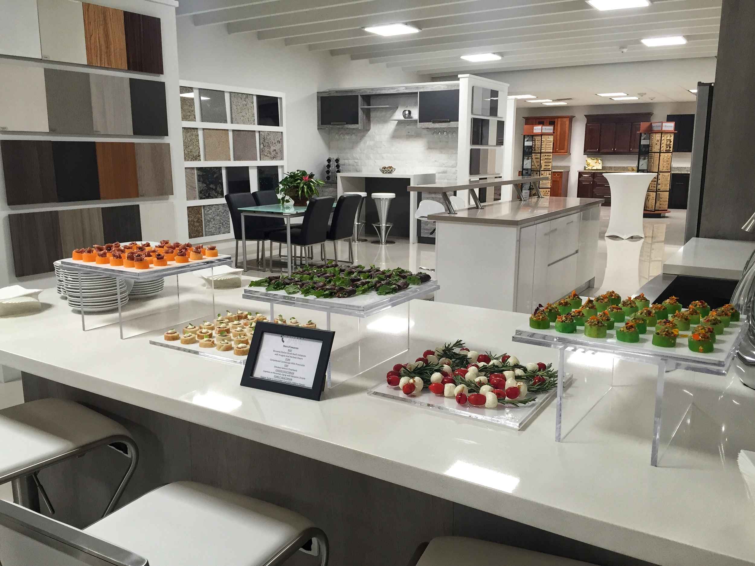 Chic, contemporary spread for grand opening of 35,000 square foot offices, warehouse and state-of-the-art showroom of leading wholesale building materials supplier in Doral. Doral's mayor, Luigi Boria, was in attendance for the ribbon cutting ceremony.