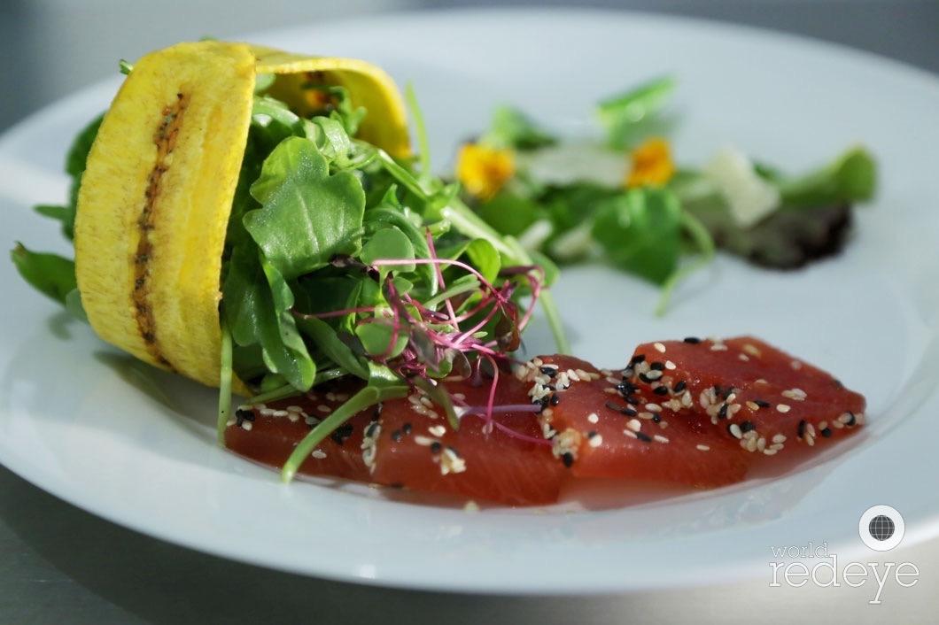 Watermelon Tataki, Florida Flowers and Greens, Marquita Crisp
