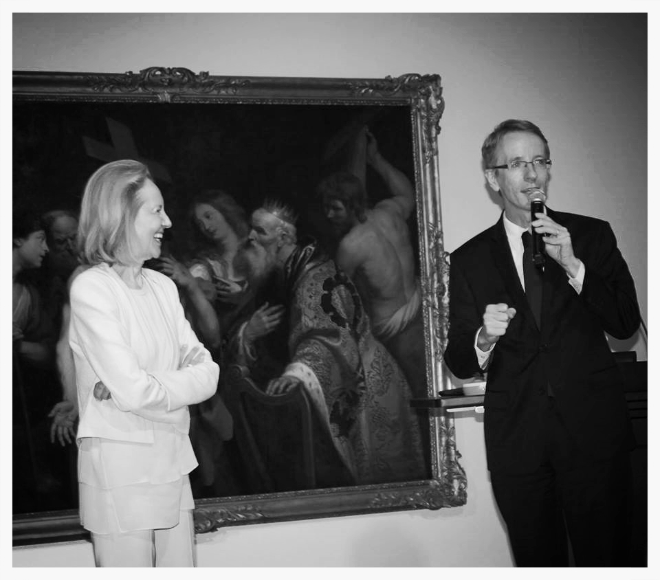 """Distinguished member of the Académie Française, Mme. Dominique Bona, with Consul General of France, Philippe Letrillart. Mme. Bona gave a lecture on """"De Berthe Morisot à L'academie"""" at The Lowe Art Museum. Thierry Isambert Culinary and Event Design served cocktails and hors d'oeuvres."""