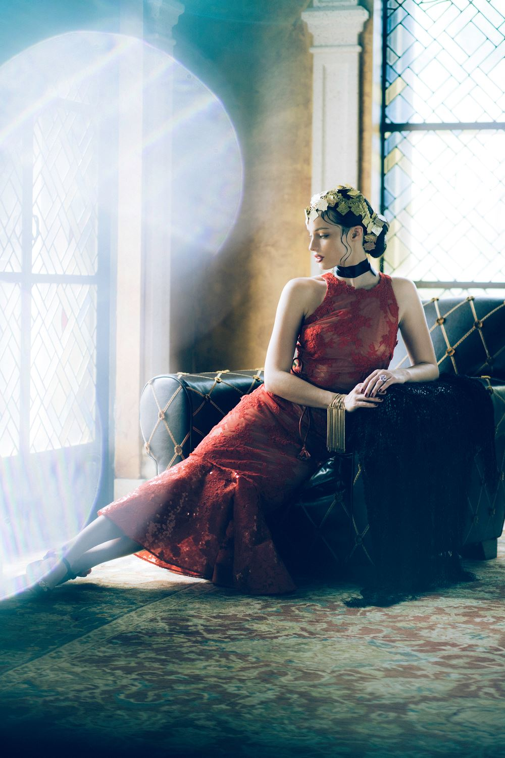 Model, Briley Hale, wearing a dress by Silvia Tcherassi, in the sumptuous private lounge on the top floor overlooking Ocean Drive.