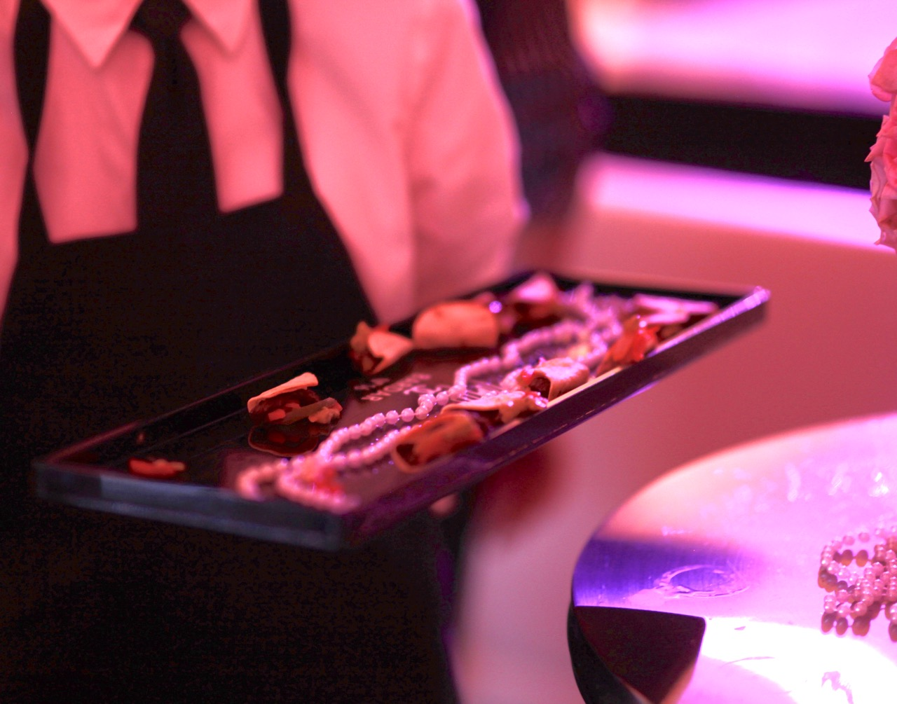 Branded black lacquer serving trays for passed hors d'oeuvres