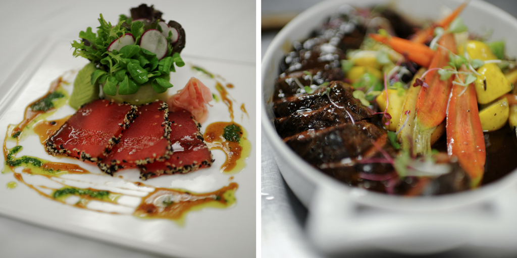 Some popular Shabbat Dinner menu options: Watermelon Tataki Salad Crusted with Sesame seeds and a bouquet of field greens in a Plantain Ring, & Sous Vide Braised Short Rib with Fig Demi-glaze and Roasted Winter Vegetables.