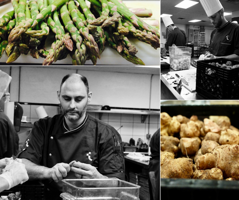Bottom left: Executive sous-chef, Michael Finizia, prepping ingredients for one of the main course options: Vodka Sea Bass Brûlée, Candied Kumquats, Sunchoke Purée & grilled Asparagus.