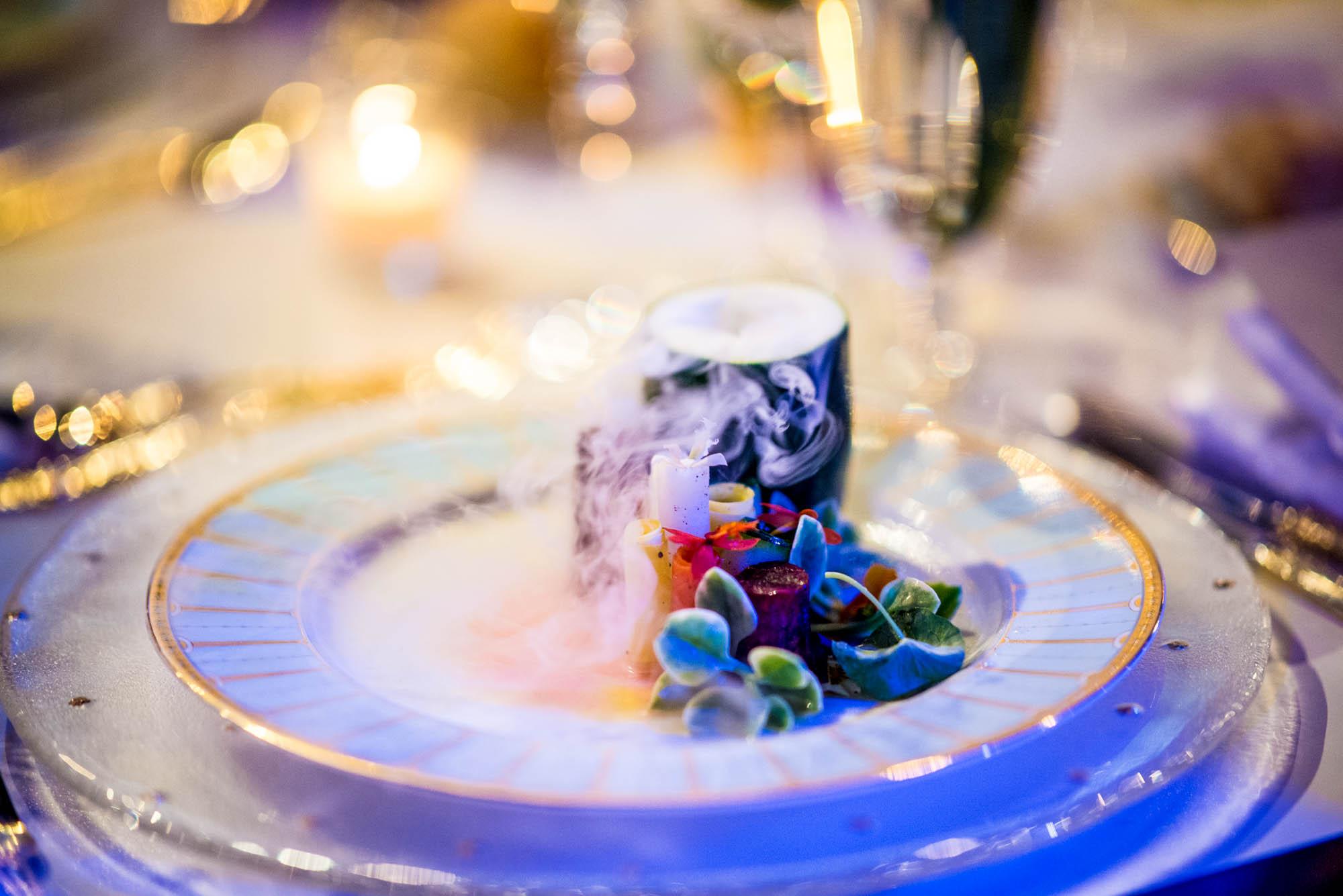 Thierry Isambert's Cloche Terranium Salad with Edible Flowers, Crystal Lettuce, Beets, Carrots, Zucchini, Lemon Vinaigrette & Violet Scented Fog