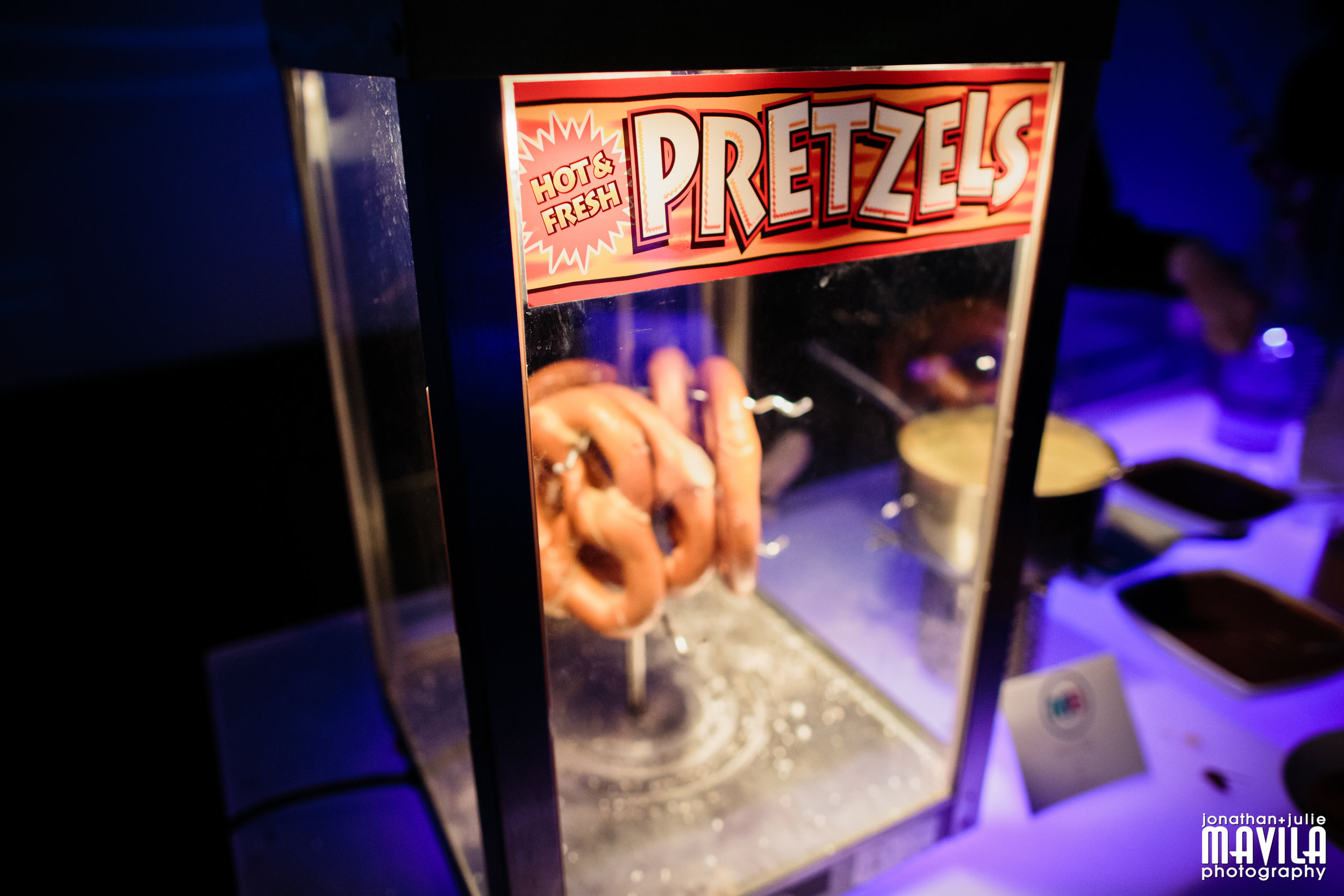 Pretzel Bar: Salted, Plain & Cinnamon Sugar, served with a variety of sweet or savory dipping sauces.