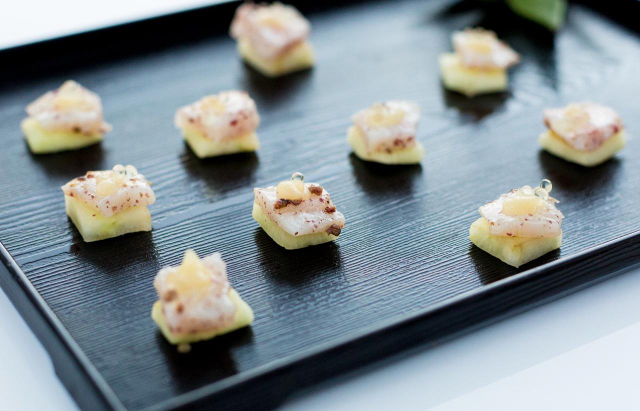 Fresh Cobia, Compressed Green Apple, Spicy Pear Purée, Yuzu Caviar
