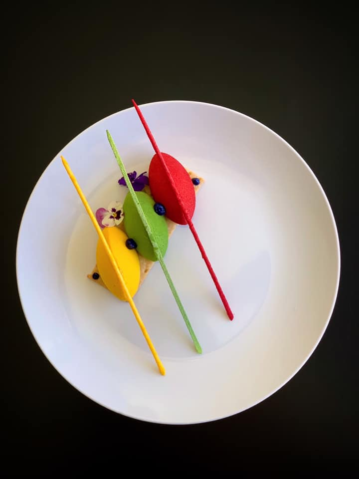 """- """"The Field of Color:"""" Custom designed dessert inspired by Sheila Hicks """"Campo Abierto."""""""