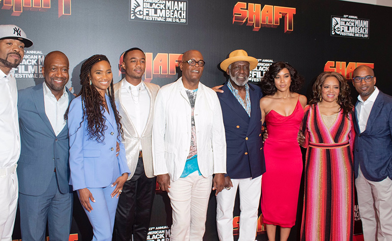 ABFF CEO, Jeff Friday, and general manager, Nicole Friday with the cast of SHAFT & director, Tim Story