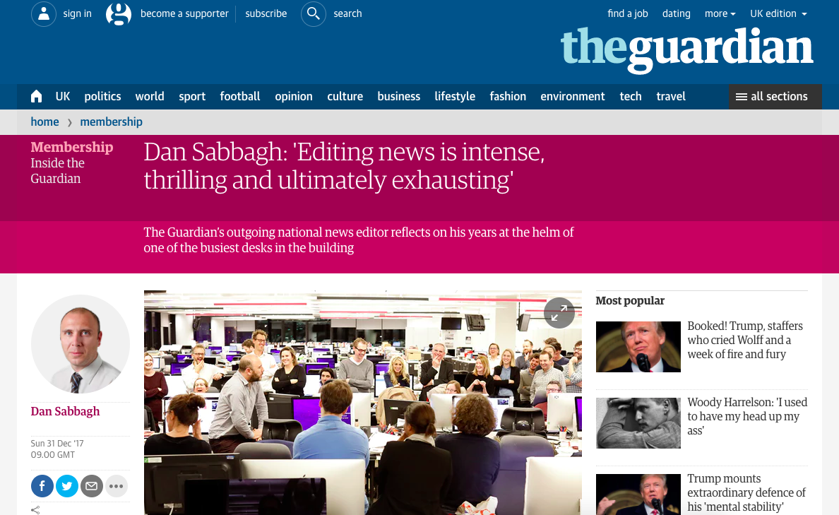 Screenshot of Dan Sabbagh's article in the Guardian
