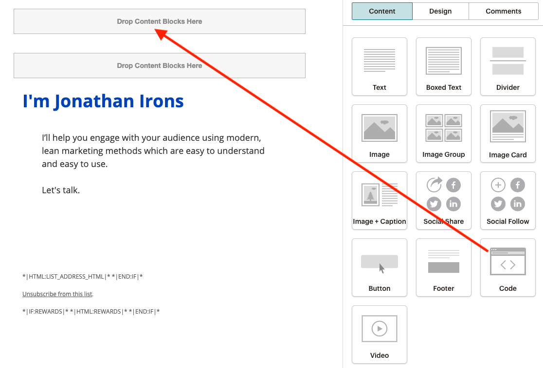 Adding a preheader to the content in MailChimp