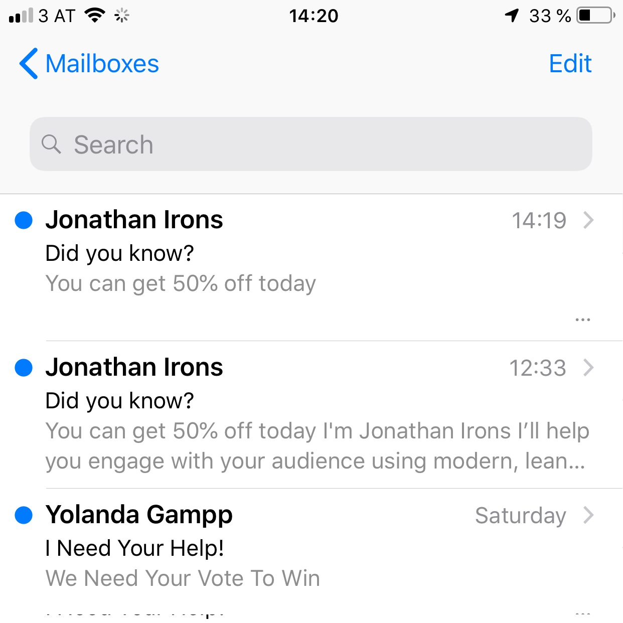 The MailChimp preheader hack in iOS Mail
