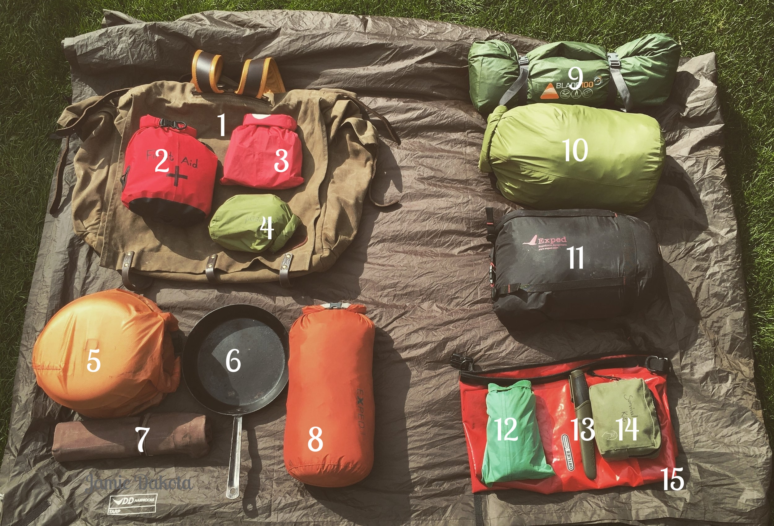 Communal kit on the left, personal gear on the right.