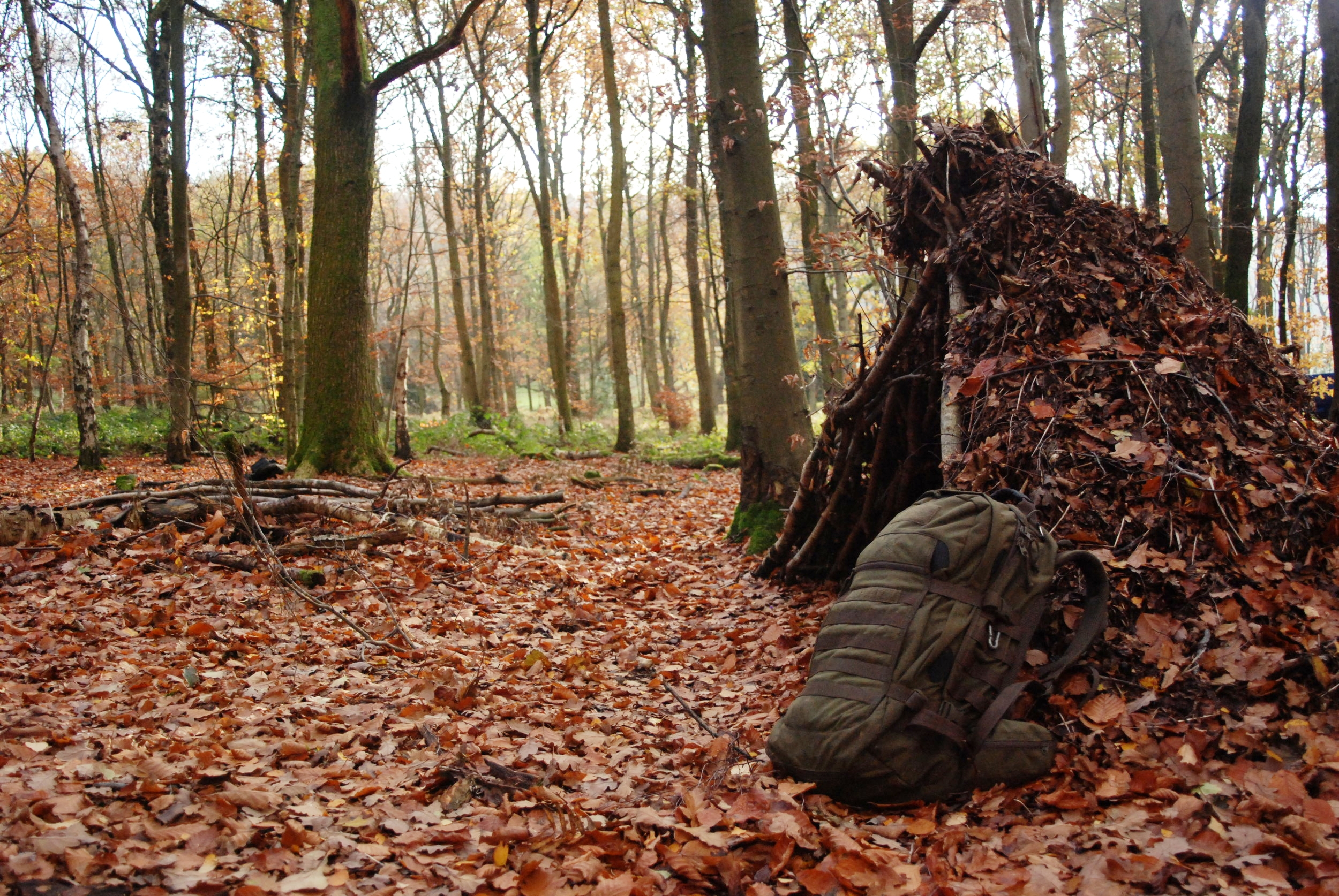 Building a woodland shelter like this is a wonderful way to stay outdoors, and can be employed when you might not have planned to stay out over night…but bear in mind a shelter such as this can take several hours to complete, in the growing dark and it would be simpler to carry a tarp in your rucksack.