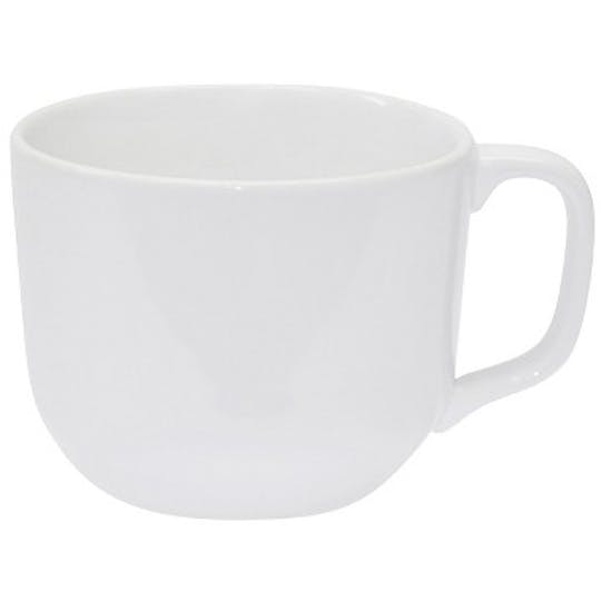 2 white porcelain mugs