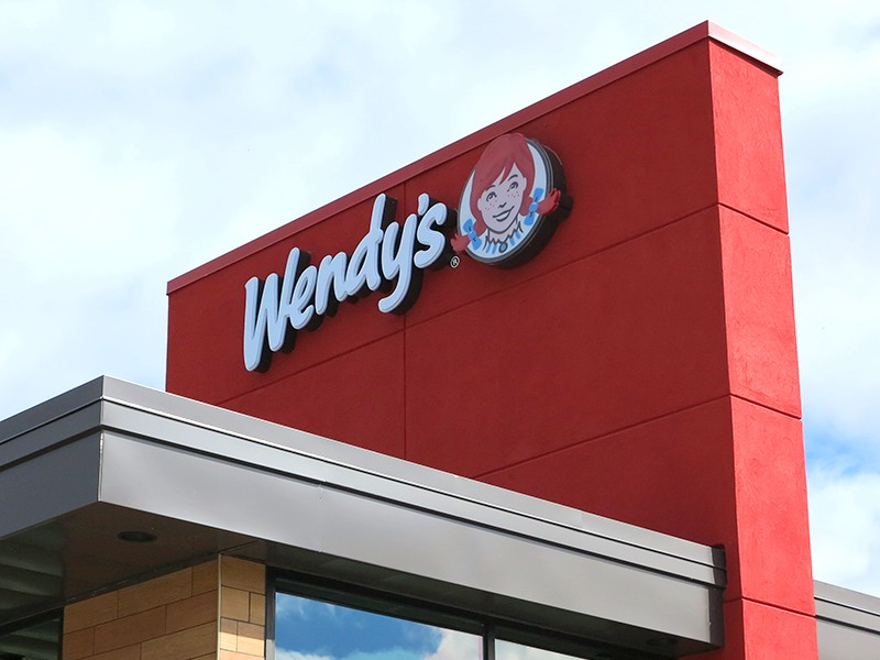 Wendy's redesigned logo on the restaurant