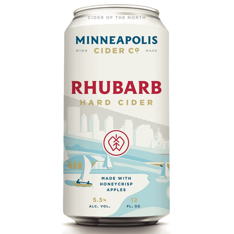 minneapolis cider co. rhubarb hard cider can packaging