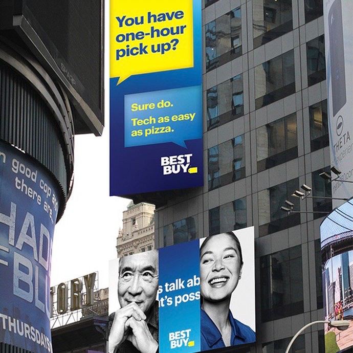 Best Buy's redesign on a billboard in the city