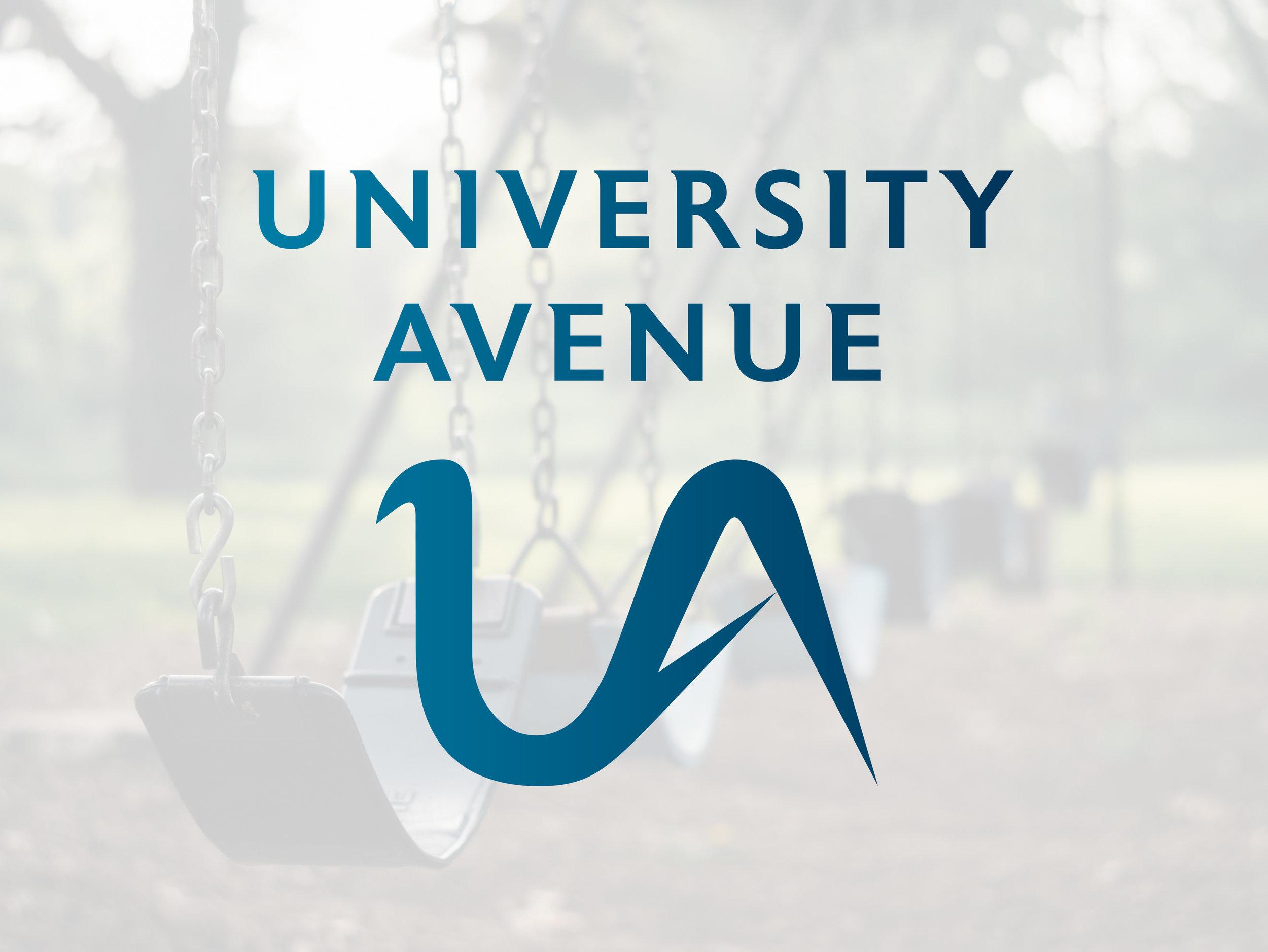 university avenue logo overlay on swing set photo