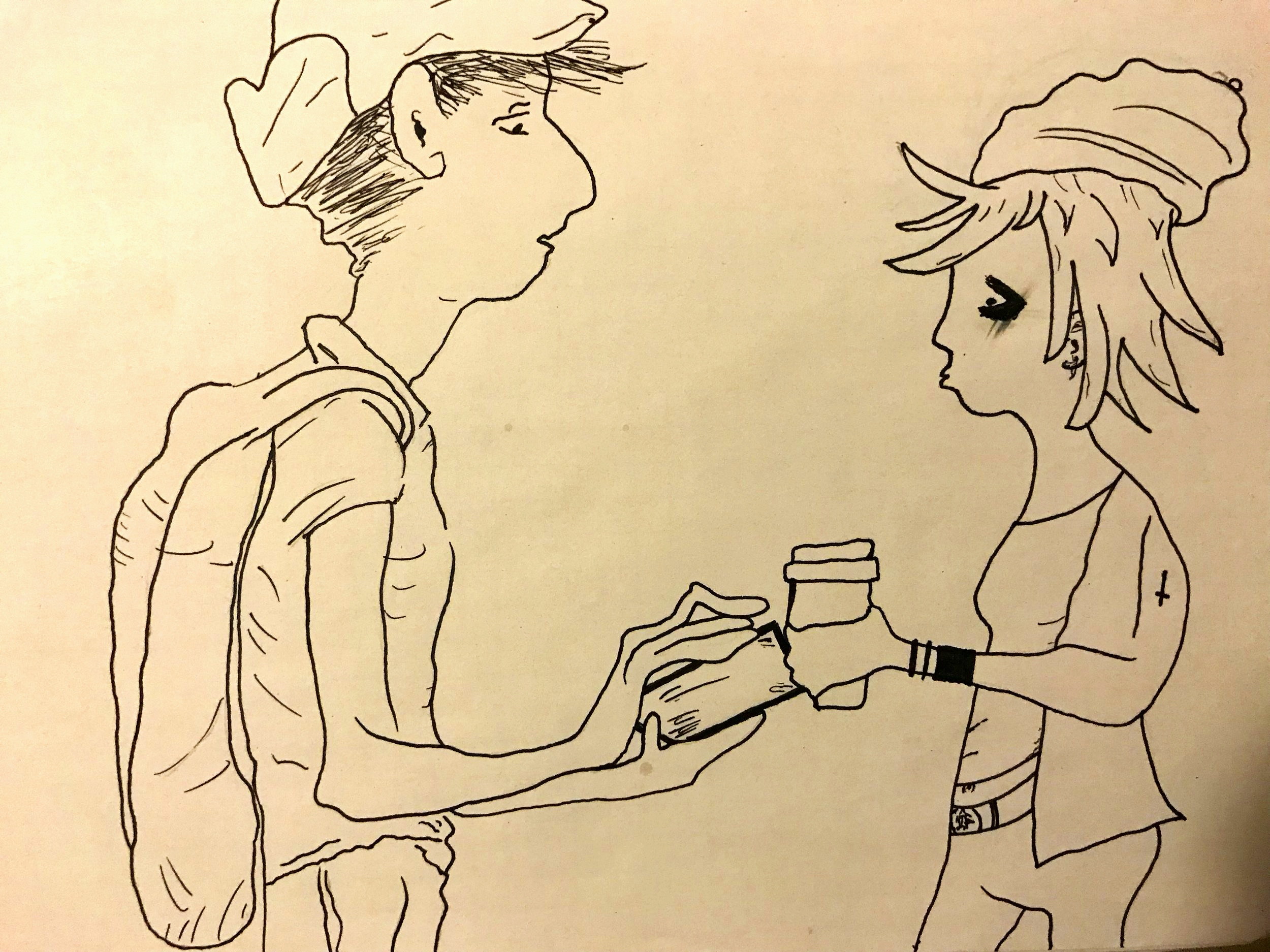 sketch+of+couple+talking
