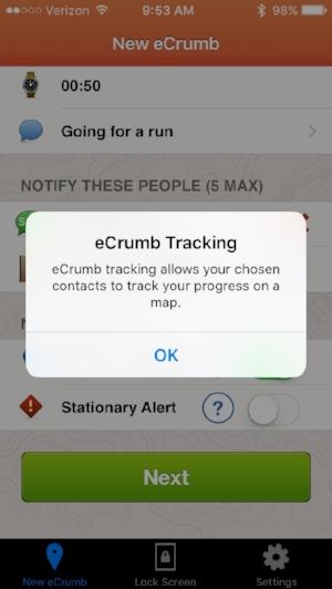 eCrumb Info Screen