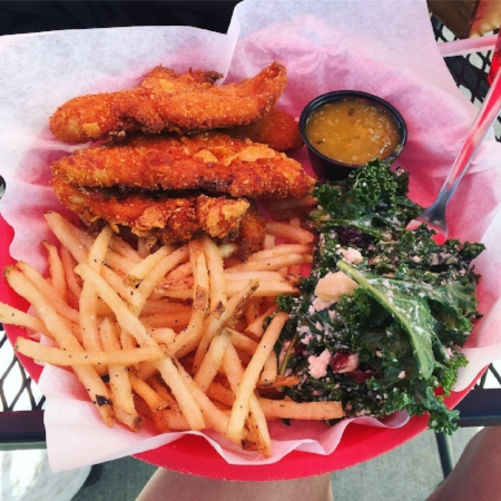 This post race lunch of corn flake crusted chicken tenders from Accomplice helped too!