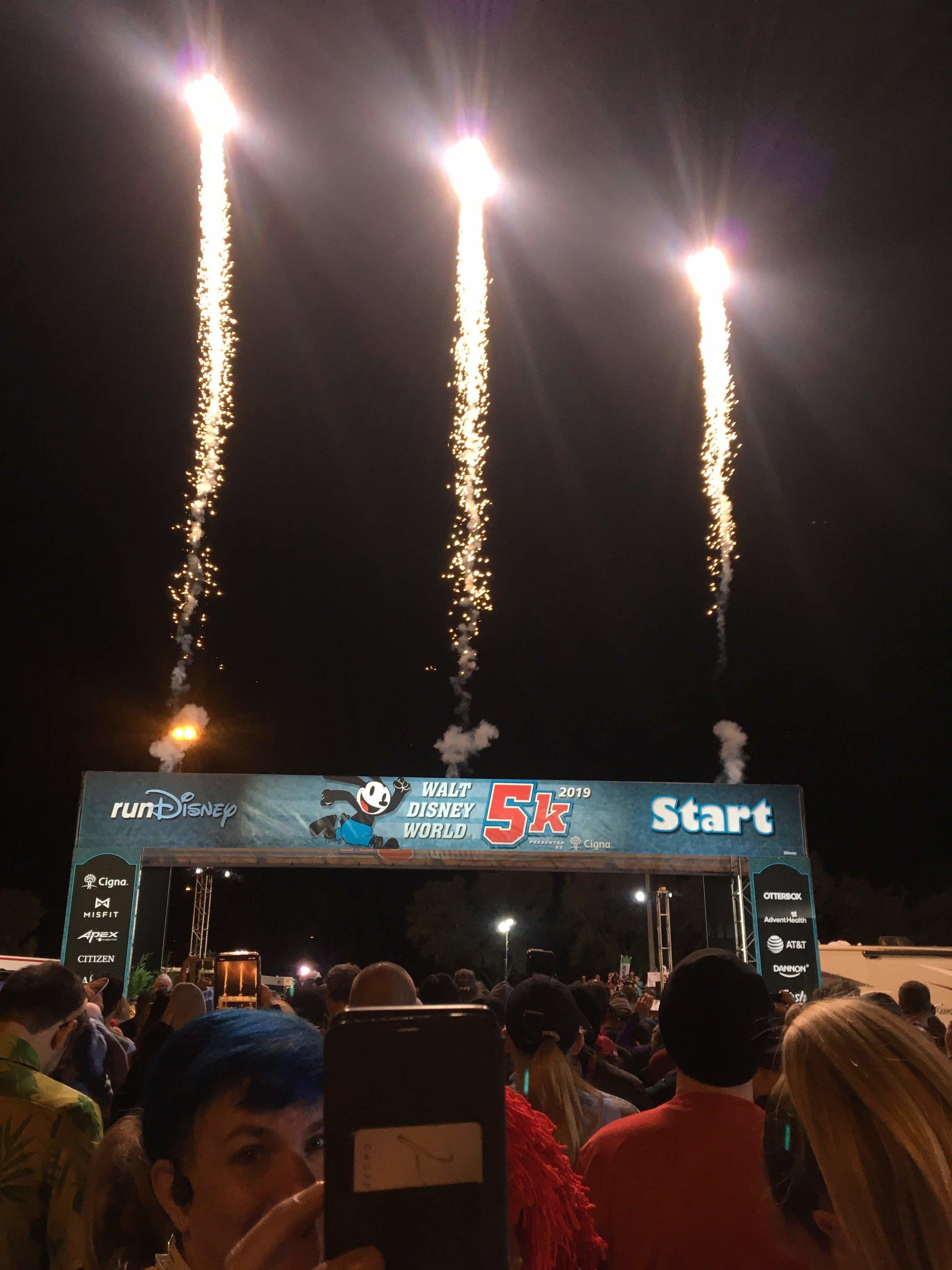 5k start fireworks