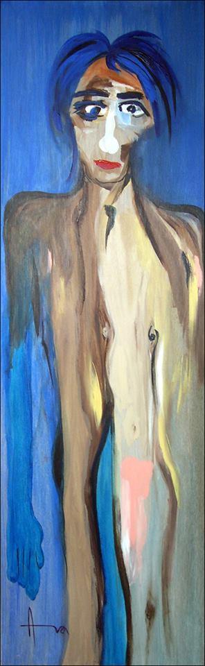 """""""Blue Arm"""" (2005), acrylic on wood, 78"""" x 24"""""""