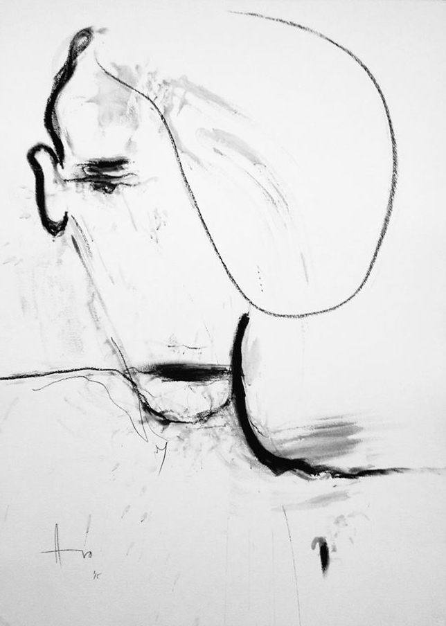 """""""Epilogue"""" (2015), charcoal on paper, 40"""" x 30"""""""