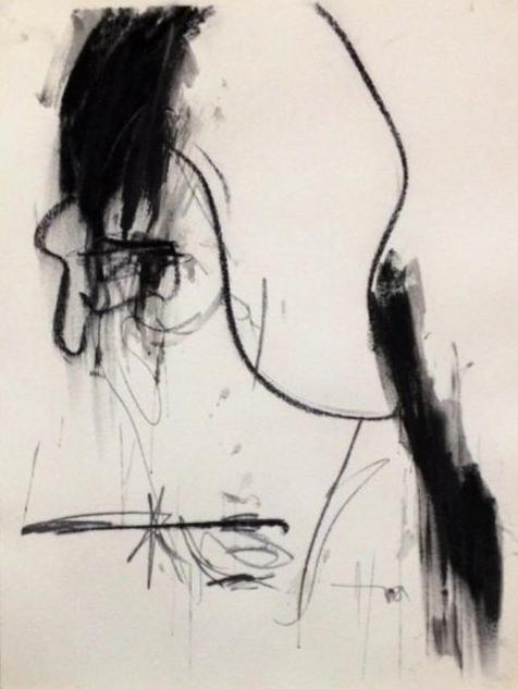 """Fallin' In-Situ"" (2013), charcoal on paper, 36"" x 24"""