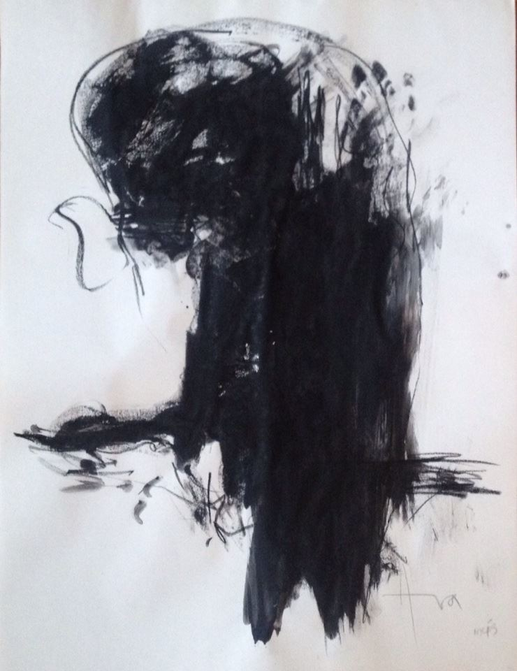 """Untitled (2013), charcoal on paper, 24"""" x 18"""""""