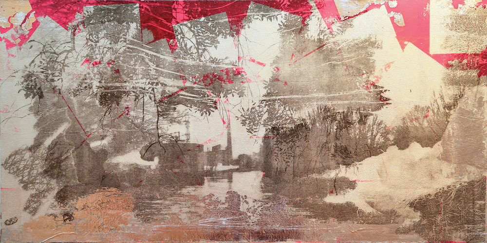 """""""Silver River"""" (2015), acrylic and silver leaf on canvas, 18"""" x 42"""""""