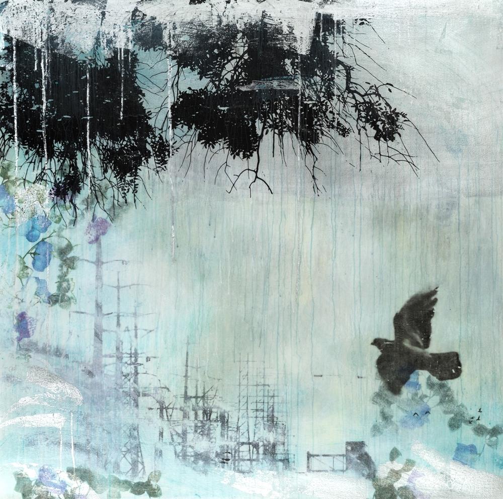 """""""Western Ocean I"""" (2015), acrylic and silver leaf on canvas, 52"""" x 52"""""""