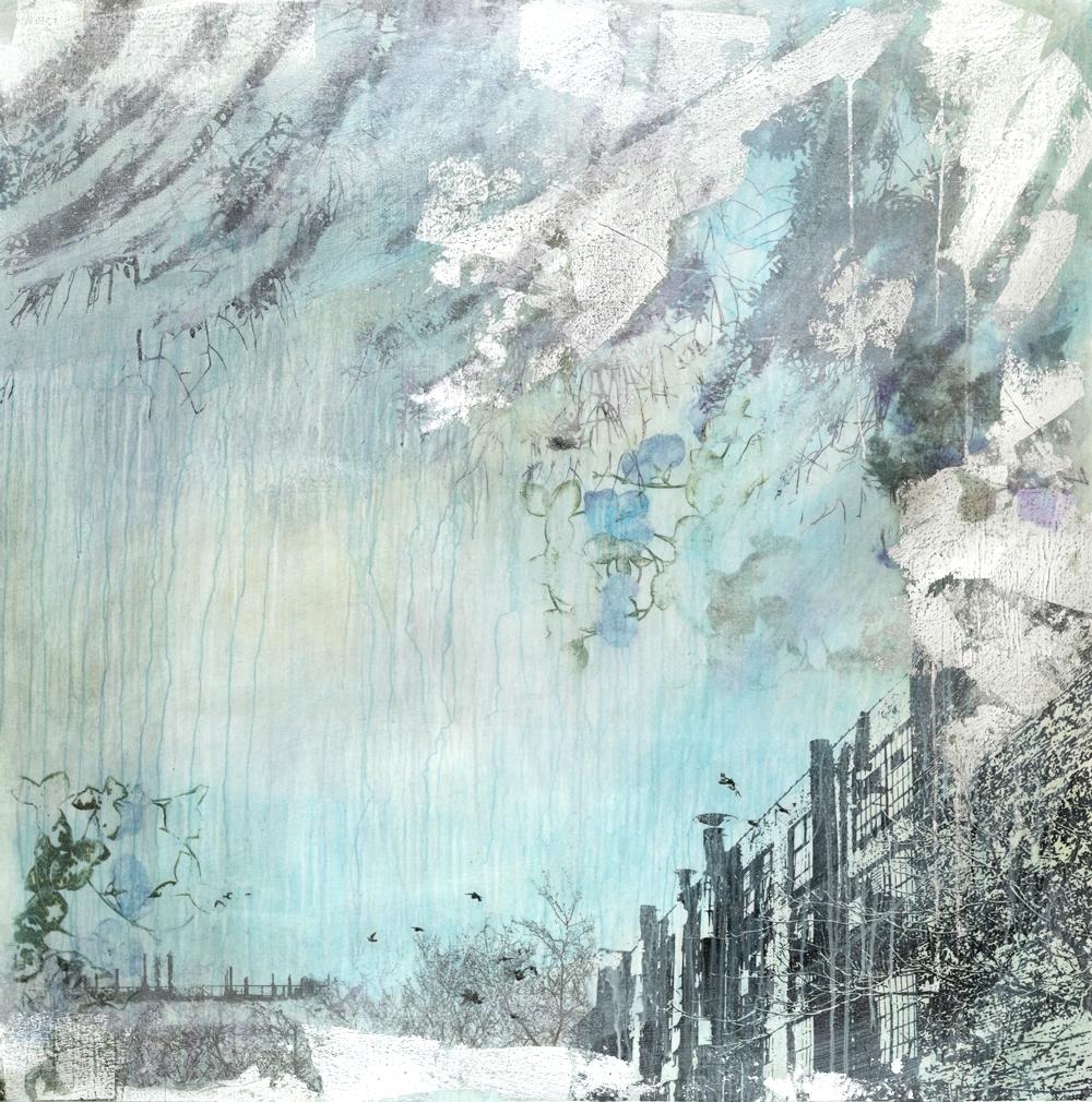 """""""Western Ocean II"""" (2015), acrylic and silver leaf on canvas, 52"""" x 52"""""""