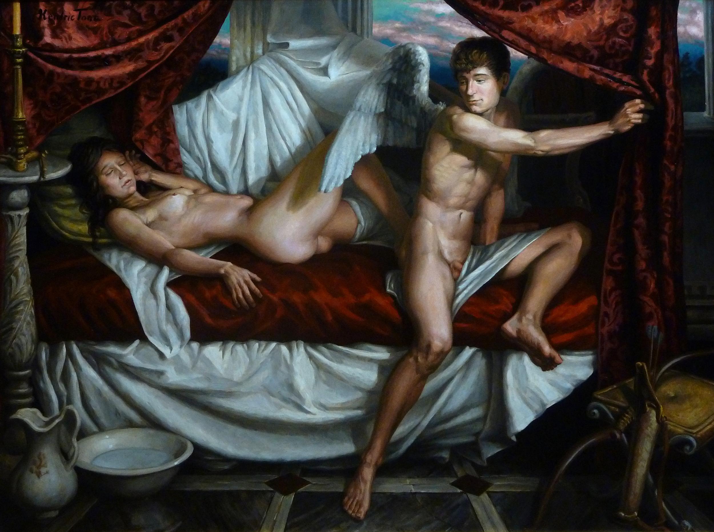 """""""Aubade: Eros Leaves the Sleeper, Til Night Returns"""" (2015), oil on panel, 36"""" x 48"""""""