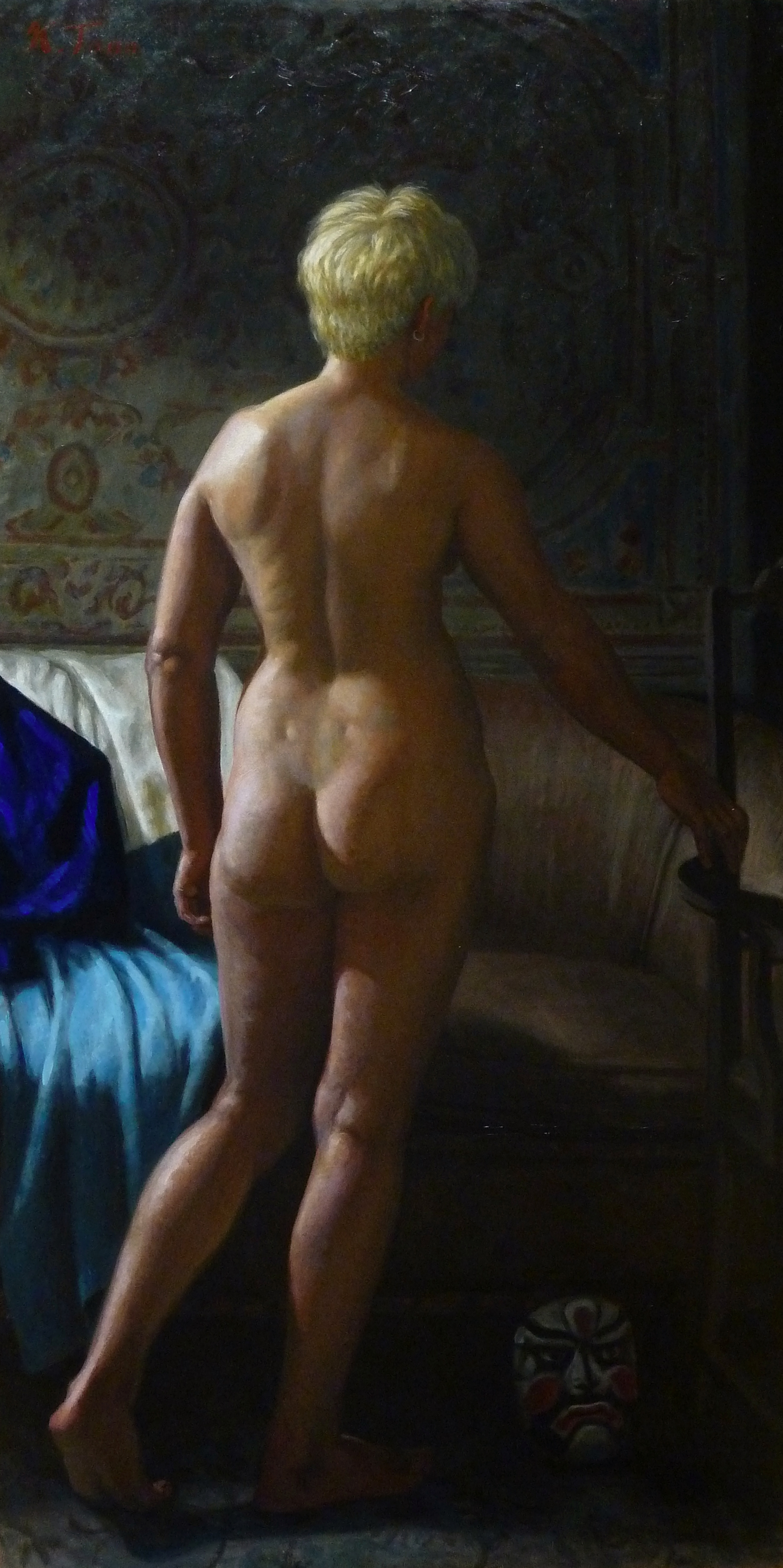 """Standing Female Nude with Blue Kimono (Selene)"" (2016), oil on panel, 48"" x 24"""