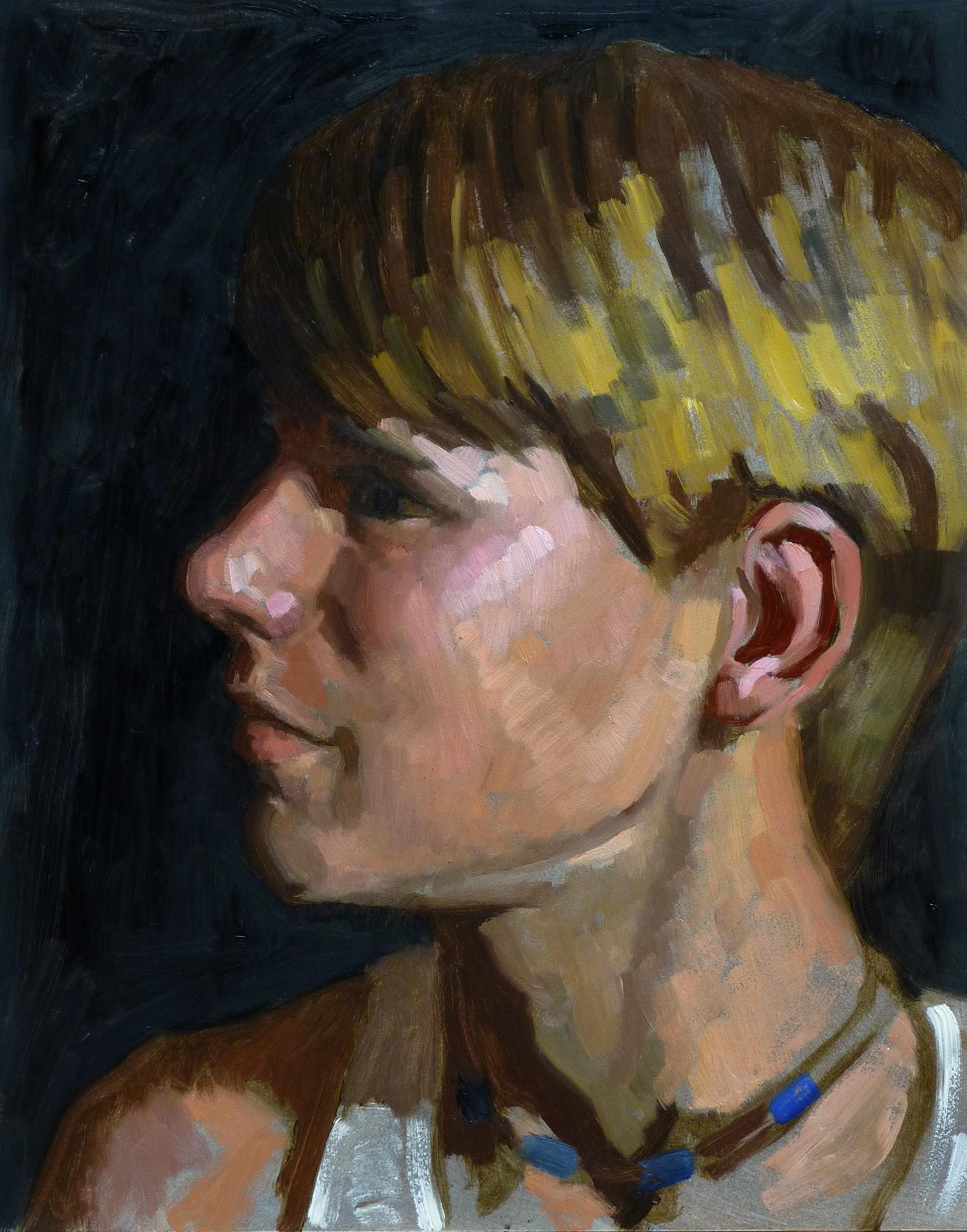 """Portrait of Z."" (2015), oil on panel, 14"" x 11"""