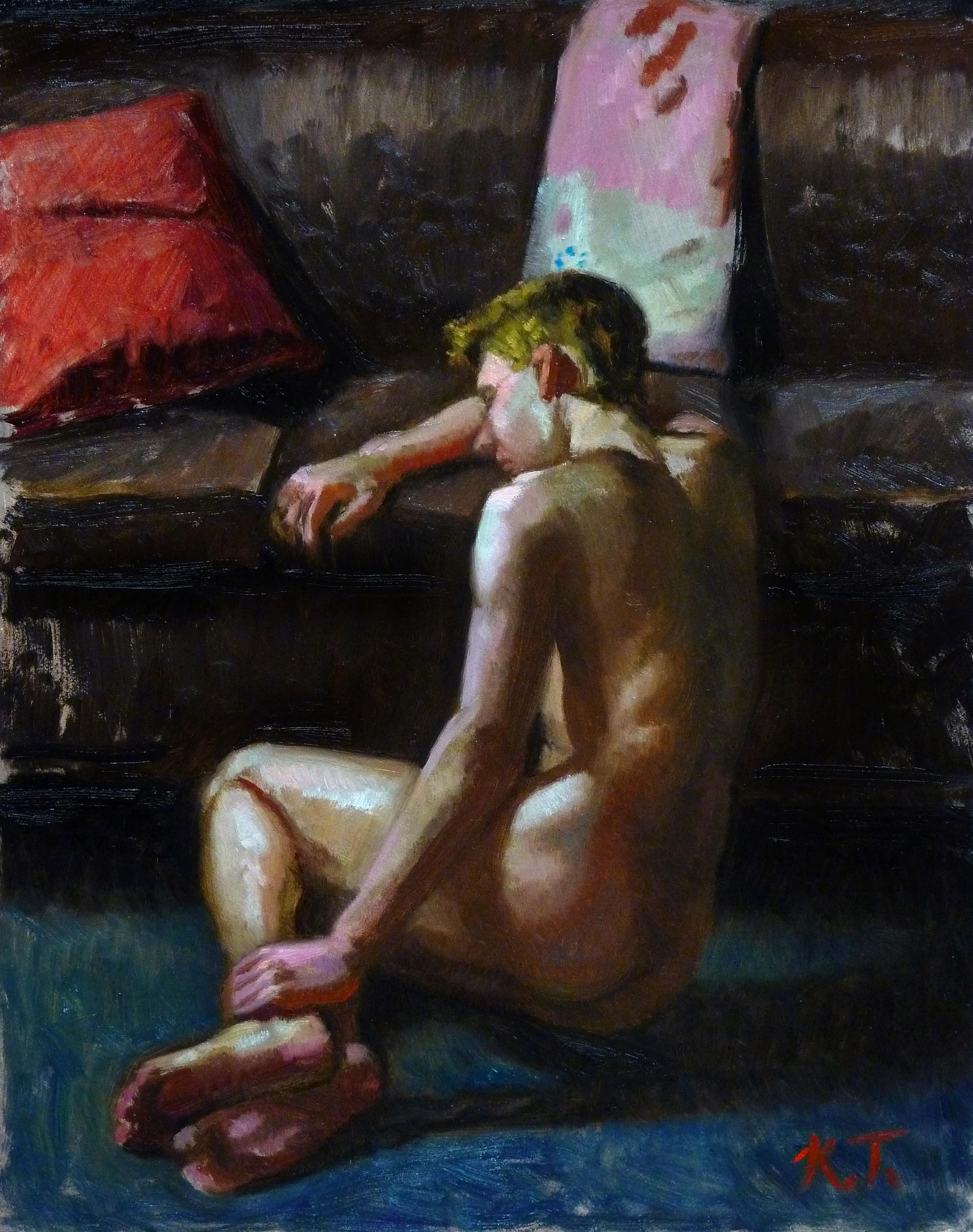 """""""B., Seated on the Floor"""" (2016), oil on panel, 14"""" x 11"""""""