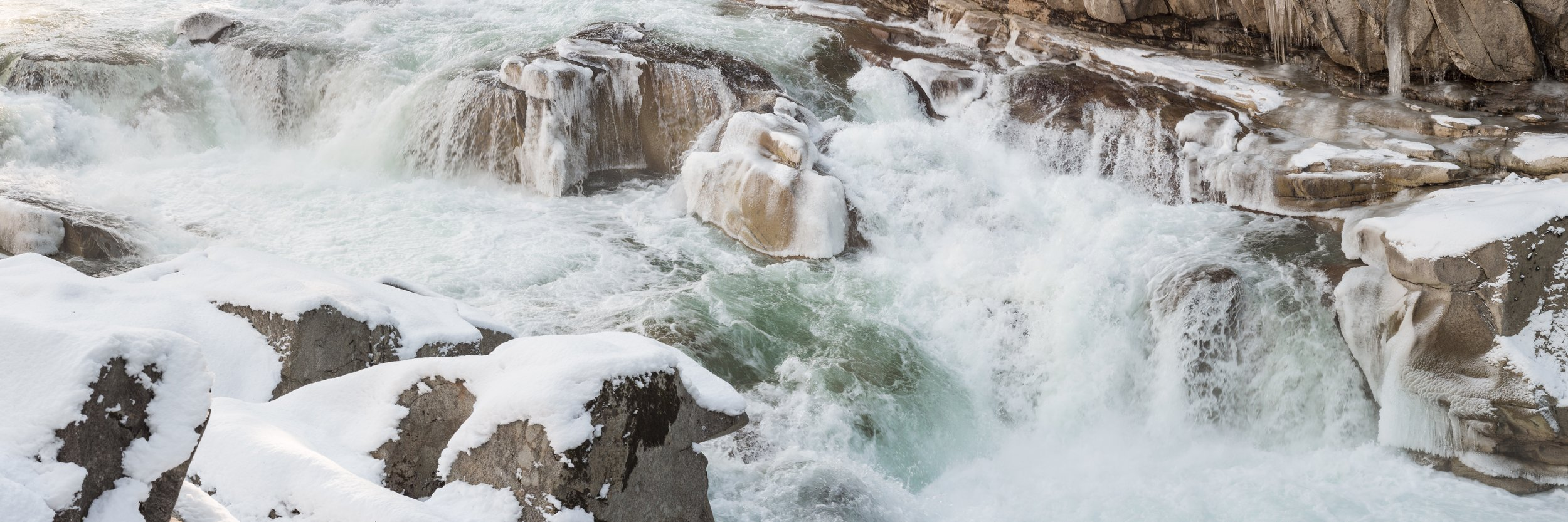 Snow and Ice on Raging River Waterfall Panorama at Eagle Falls, Washington