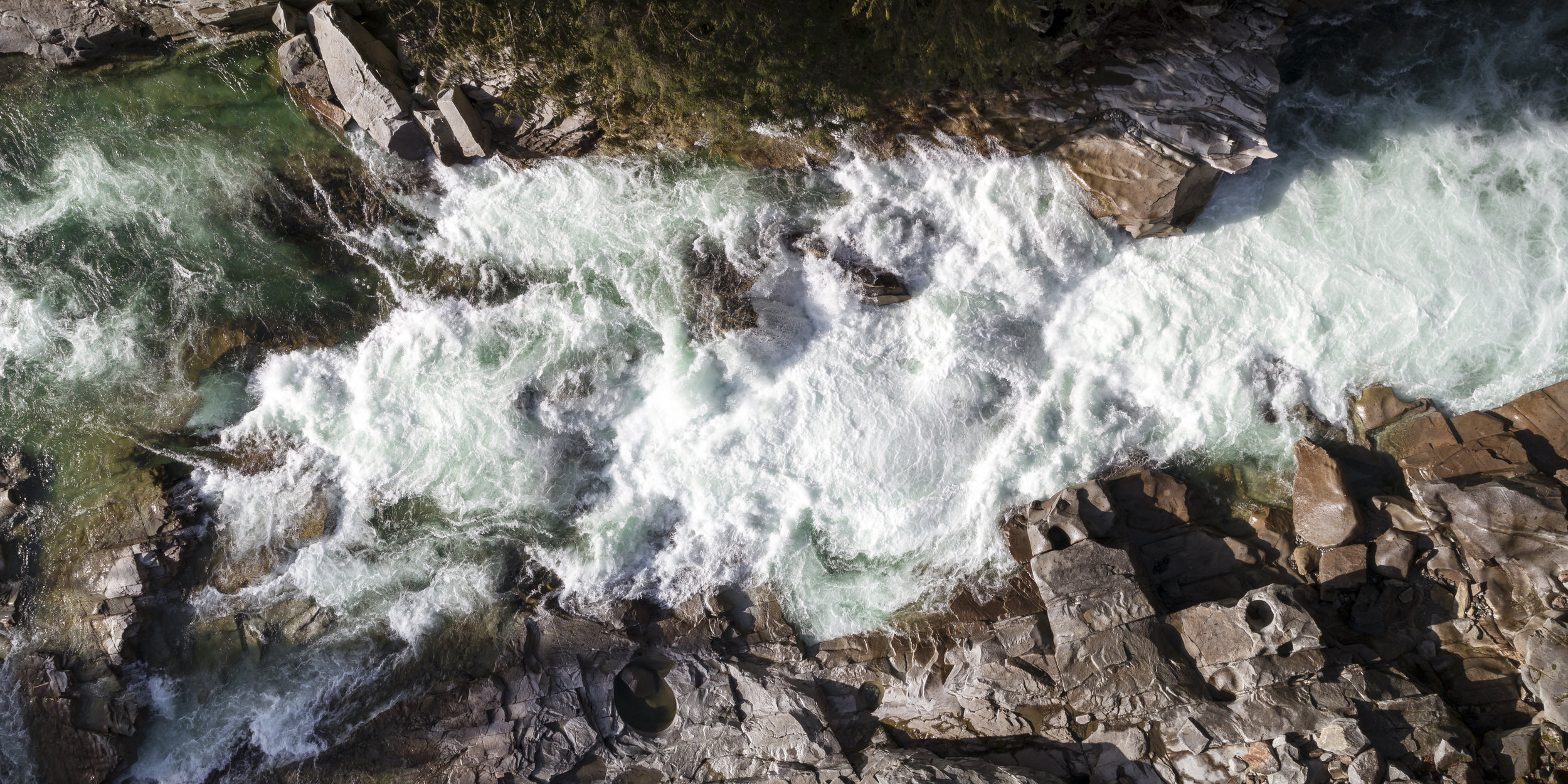 Aerial Panorama of White Water Rapids at Eagle Falls, Washington on Sunny Day