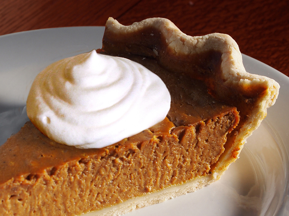 PUMPKIN PIE WITH FRESH WHIPPED CREAM