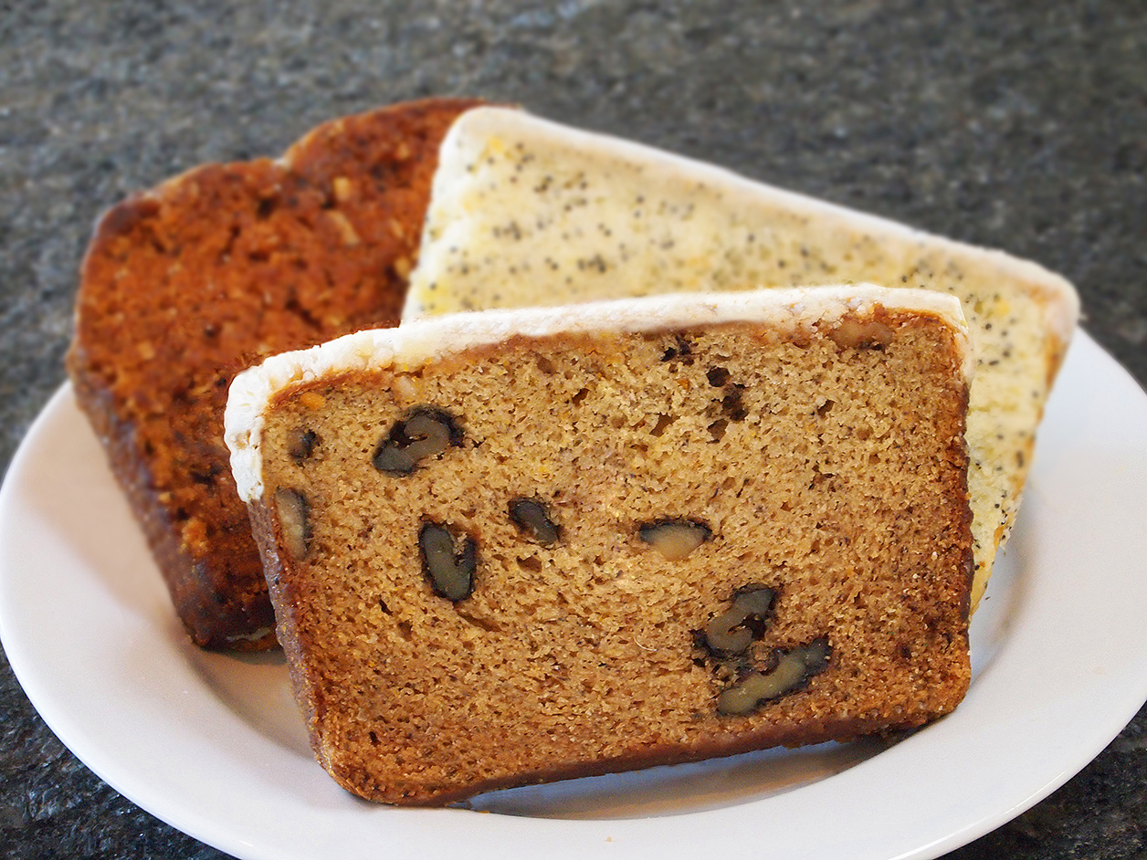BANANA, ALMOND POPPY, AND PUMPKIN BREADS